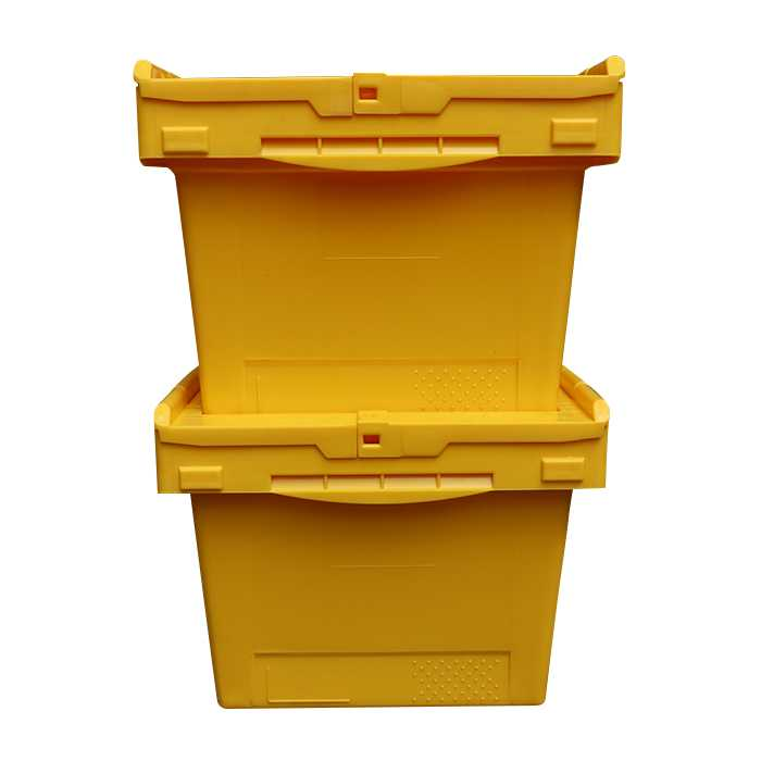 distribution container tote with hinged lid
